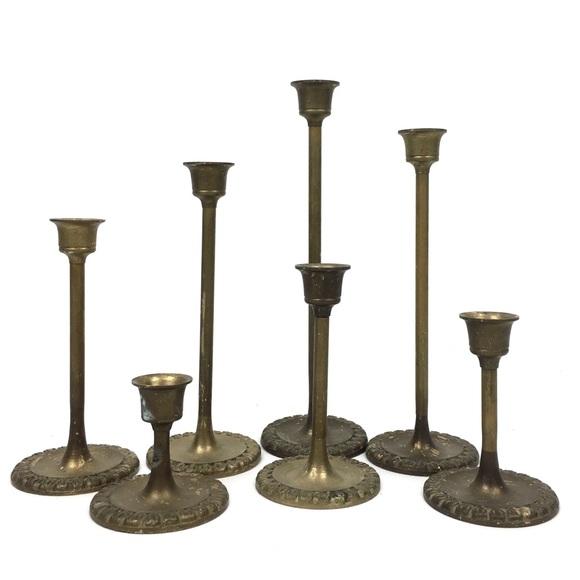 Brass candlestick lot of 7 all sizes vtg decor